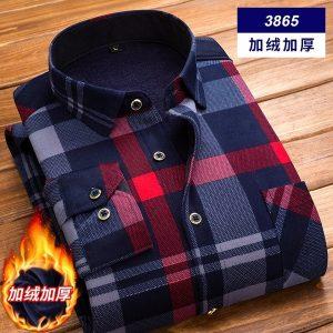CAMISA Outono e inverno camisa de mangas compridas dos homens quente camisa xadrez ocasional camada de impressão dos homens tamanho grande FRETE GRATIS