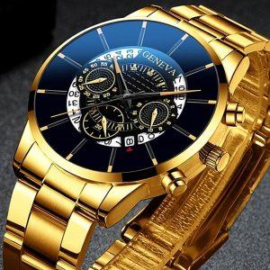 RELOGIO Mens Relógio de Moda Relógio de Cinto de Malha de Aço Inoxidável Data do Calendário Relógios de Pulso de Quartzo Negócios Casua Relógio Para Homens Presente Montre Homme FRETE GRATIS