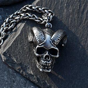 COLAR Colar de esqueleto de aço inoxidável 316L dos homens pingente de caveira de cabra do vintage gótico punk jóias FRETE GRATIS