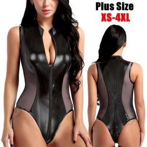 BORIS NOVAS Roupas Femininas Couro Pu Plus Size Bodysuit Casual Sem Mangas Zipper Bodycon Macacão Plus Size XS-4XL FRETE GRATIS