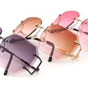 OCULOS Proteção UV Exclusivo Transparente Óculos Mulheres Moda Óculos Sem Aro Óculos de Grandes Dimensões Lente Clara Tamanho Grande Óculos de Sol-WWW FRETE GRATIS
