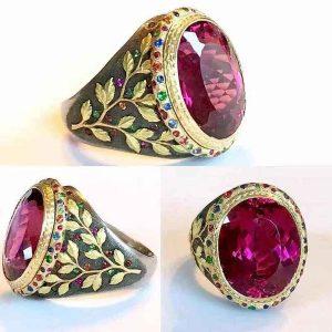 ANELAnel de rubi de prata esterlina 925 do vintage 18K banhado a ouro anel de filial moda masculina tamanho de jóias 7-13 FRETE GRATIS