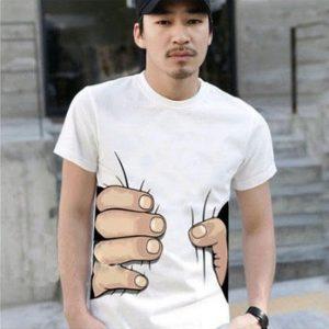 CAMISETA  10 cores grande mão camiseta! Homem roupas masculinas Impressão Hot 3D visual personalidade criativa paródia agarrar sua camiseta de algodão FRETE GRATIS