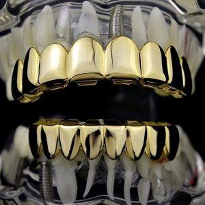 DENTE Moda Hip Hop 8 Dentes de Ouro Grillz Boca Dental Punk Dentes Caps Cosplay Festa Dente Jóias FRETE GRATIS