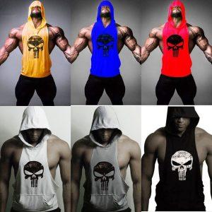 CAMISETA 6 cores da moda dos homens sem mangas de fitness hoodies muscular ginásio musculação com capuz tops masculino roupas de treino roupas atléticas vestuário esporte colete FRETE GRATIS