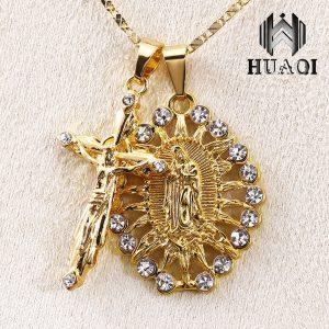 COLAR HUAQI 18 k Banhado A Ouro Virgem Maria Jesus Cruz Colar de Pingente Duplo Cristal Strass Colar Para As Mulheres Presentes de Natal FRETE GRATIS