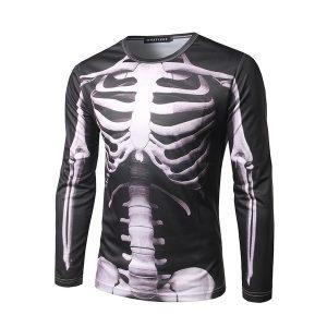 CAMISETA Nova perspectiva 3D esqueleto dos homens impressão tridimensional de manga comprida em torno do pescoço t-shirt FRETE GRATIS