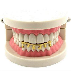 DENTE Nova moda banhado a ouro dentes gotejamento inferior inferior Grillz festa de hip hop jóias FRETE GRATIS