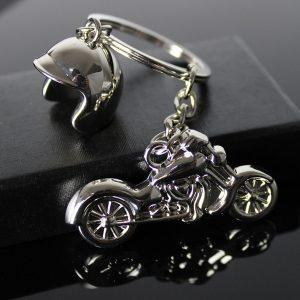 CHAVEIRO Moda legal moto chaveiro moto capacete chave anel chave titular pingente de jóias (cor: prata) FRETE GRATIS