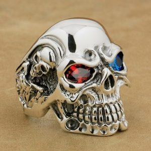 Anel do crânio do olho da gema do vintage para homens masculino punk gótico esqueleto jóias de aço inoxidável FRETE GRATIS