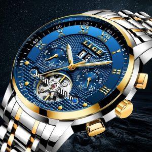 RELOGIO Homens Relógios Marca LIGE Mens Luxo Relógio Mecânico Automático Relógio de Negócios Homem Cheio de Aço Moda Casual Dia dos Pais À Prova D 'Água Relógio Militar FRETE GRATIS