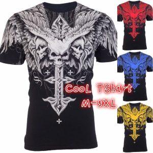 CAMISETA Moda AFLIÇÃO Arcaica Legal Crânio Impressão Plus Size Homens T-Shirt Tatuagem Motociclista M-5XL FRETE GRATIS