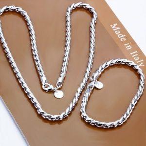 COLAR CONJUNTO Moda conjunto de jóias de prata esterlina 925 pulseira de colar de corrente de corda torcida de prata FRETE GRATIS