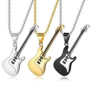 CHAVEIRO Colar de guitarra de alta qualidade para homens / mulheres presente do amante de música preto / cor de ouro aço inoxidável pingente & cadeia hip hop jóias de rock FRETE GRATISIS