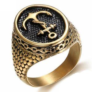 ANEL Cadeia de âncora Anel de pele de cobra Vintage Aço inoxidável Mens Jewelry FRETE GRATIS