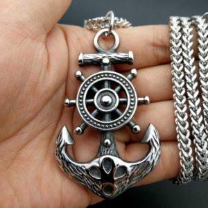 COLAR Navio punk de aço inoxidável hip hop capitão roda leme com âncora náutico charme colar de pingente de moda jóias FRETE GRATIS