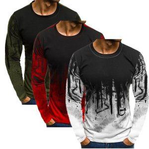 CAMISETA Moda masculina Manga comprida Fitness Camuflagem T-shirt dos homens Casual Sport Tops FRETE GRATIS