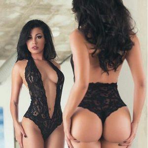 BORIS Mulheres Deep V Sheer Lace Backless Playsuit Collant Bodysuit Roupa interior Pijamas FRETE GRATIS