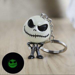 CHAVEIRO Moda esqueleto jack dia das bruxas luminosa diabo crânio abóbora chaveiro chaveiro dos desenhos animados de natal chaveiro anel acessórios presentes FRETE GRATIS