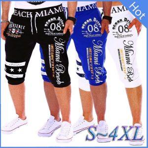 BERMUDA Calças masculinas Casual Shorts de cintura elástica Impressão de letras Loose Sports Capri Pants FRETE GRATIS