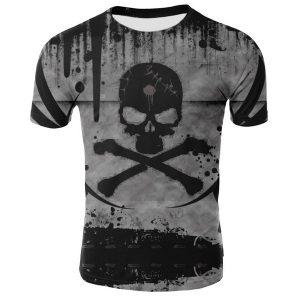 CAMISETA  Nova Moda Mens Camisa Engraçada Pirata Crânio 3D Impresso T-Shirt de Manga Curta Tees FRETE GRATIS