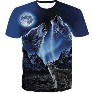 CAMISETA A moda dos homens encabeça o verão 3D impresso lobo t-shirt de manga curta FRETE GRATIS