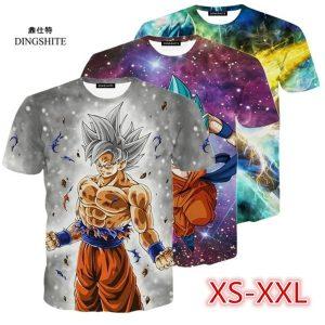 CAMISETA Dragon Ball Goku Imprimir T-Shirt Verão Moda Masculina Plus Size Slim Fit Camiseta FRETE GRATIS