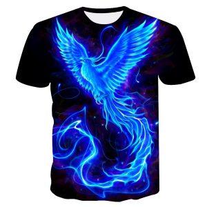 CAMISETA Blue Phoenix T-shirt impressa Unisex Cool 3d T-shirt de manga curta FRETE GRATIS