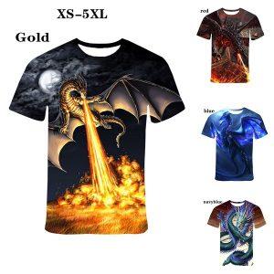 CAMISETA Homens Nova Moda Engraçado 3D Dragão Impresso Camisetas Casuais Macio e Confortável Street T-shirts para Homens Tops T-shirt Plus Size XS-5XL FRETE GRATIS