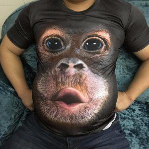 CAMISETA homens casuais novo design 3D paródia gorila macaco engraçado t-shirt engraçado fazendo beicinho macaco camiseta impressão 3D lazer de verão alta qualidade lazer legal camisa de manga curta FRETE GRATIS