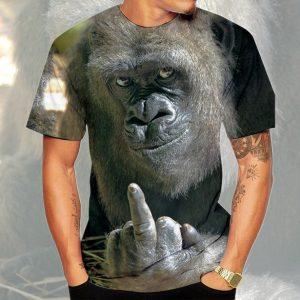 CAMISETA Novos homens camiseta animal orangotango / macaco gorila impressão 3D mostrando o dedo médio camiseta homens e mulheres engraçadas tops tops manga curta o pescoço 3d impressão roupas de verão FRETE GRATIS