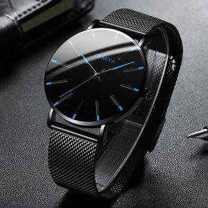 RELOGIO Homens da moda Negócio Clássico Relógios Pretos Casuais Relógios de Pulso de Quartzo Luxo Rodada Azul Relógio Analógico Relógio Masculino Presente Relojes Hombre FRETE GRATIS