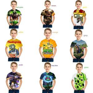 CAMISETA Nova moda Kids 3D plantas de impressão vs. Zumbis T-shirt Dos Desenhos Animados Camisetas para Crianças Legal Meninos Camisetas Meninas Jogo Tshirt FRETE GRTIS