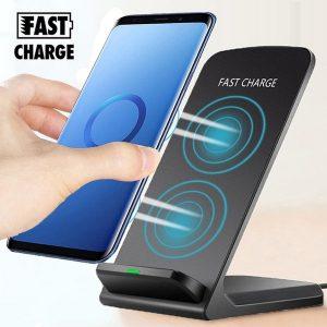 CARREGADOR 10 W Qi Sem Fio Bobina Dupla Carregador Rápido Suporte Dock Phone Holder Pad Para iPhone X / Xr / Xs / Xs Max / 8/8 Plus e Galaxy Note 9/8/5 S9 / S9 + S8 / S8 / S8 / S7 / S7 Edge S6 Edge FRETE GRATIS
