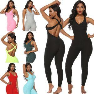 MACACÃO Mulheres Bodysuit Yoga Esporte Define Roupas de Fitness Mulheres One-Pieces Sports Suit Treino Ginásio de Fitness Macacão Calças Confortável Yoga Set FRETE GRATIS