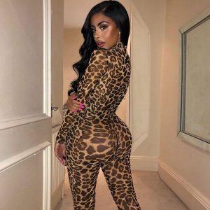 MACACÃO Moda em torno do pescoço macacão de leopardo mulheres manga comprida apertado aptidão zipper macacão FRETE GRATIS