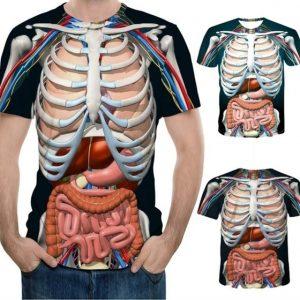 CAMISETA Unxsex Educacional Realidade Aumentada T-Shirt para Anatomia 3D Impresso Em Torno Do Pescoço T-Shirt de Manga Curta Anime Engraçado Homens Halloween Camiseta FRETE GRATIS