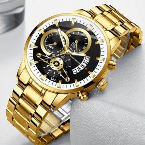 RELOGIO Luxo mens moda de aço inoxidável relógios de quartzo calendário de ouro relógio relógio montre homme negócios esportes casuais couro preto relógio analógico presente para homens hologe homem FRETE GRATIS