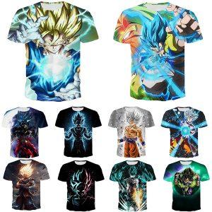 CAMISETA Anime Stylish T Shirt Personality 3D Print Dragon Ball Z Sport Casual Short Sleeve Tops Plus Size FRETE GRATIS