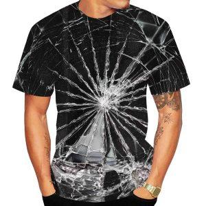 CAMISETA Nova moda 3d impressão rachaduras textura camiseta legal tees manga curta casual tops clássicos FRETE GRATIS