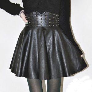 SAIA moda pu saias de cintura alta de couro das mulheres do vintage o rebite plissado uma linha mini saia FRETE GRATIS