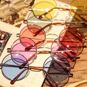 OCULOS Mulheres coloridas retro óculos redondos lente óculos de sol óculos óculos de armação de plástico FRETE GRATIS