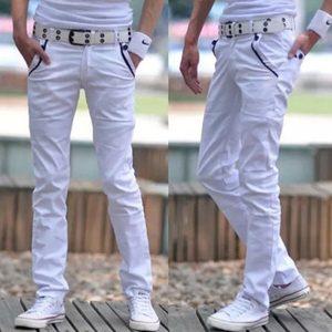 CALÇA Outono e verão nova calça jeans masculina branca pura cintura fina calças retas calças casuais FRETE GRATIS
