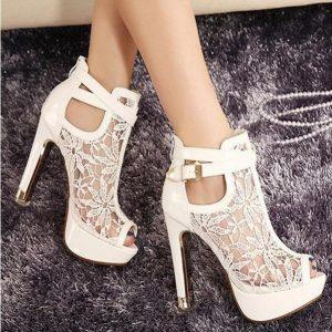 SAPATO  Novas Mulheres de Renda Plataforma Bombas Sandálias de Malha Branca Preto de Salto Alto Peep Toe Shoes FRETE GRATIS