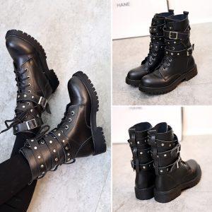 Botas da motocicleta das mulheres da moda senhoras de inverno do vintage combate do punk do exército do punk gótico sapatos mulheres motociclista botas de couro pu FRETE GRATIS