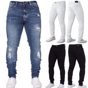 CALÇA Mens Fashion Designer de Moda Jeans Skinny Azul / preto / branco Calças Lápis para Calças Masculinas AD FRETE GRATIS