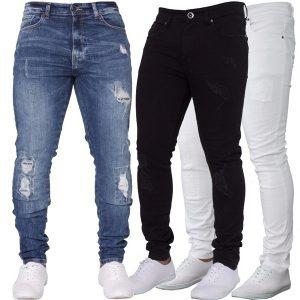 CALÇA para Meninos Rasgado Destruído Angustiado Trecho Magro Calças Jeans Azul Branco Preto FRETE GRATIS