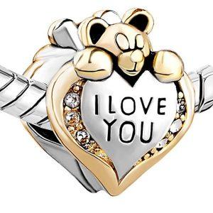 COLAR Amor de prata Forma de Coração Urso de Cristal Diamante Talão Fit DIY Encantos Pulseira Animal Charme Pulseira Encantos para Fazer Jóias FRETE GRATIS