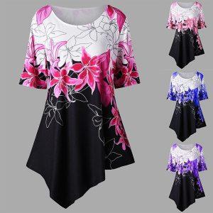 BLUSA mulheres moda feminina bainha assimétrica estampa floral túnica tops (s-5xl) FRETE GRATIS