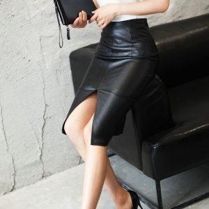 SAIA Plus size saia de couro inverno 2017 moda preto na altura do joelho saia lápis fino escritório mulheres saia saia midi do vintage FRETE GRATIS